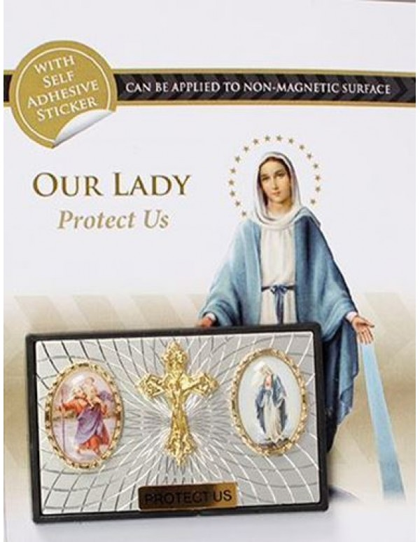 St Christopher / Crucifix / Our Lady of the Miraculous Medal  Magnetic Car Plaque