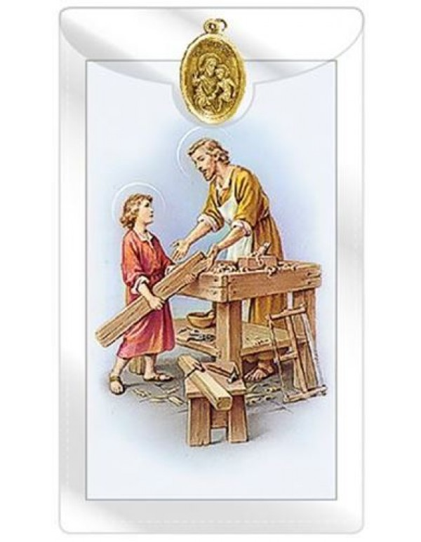Daily Prayer to St Joseph for Employment with St Joseph  Medal with Prayer Card