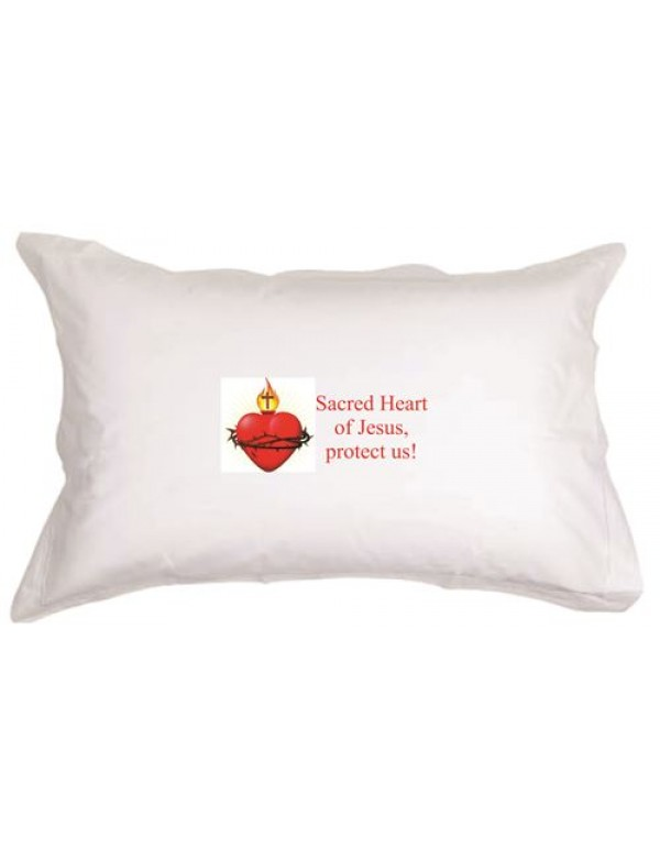 Set of Two -  Sacred Heart of Jesus, Protect us!   White pillow cases