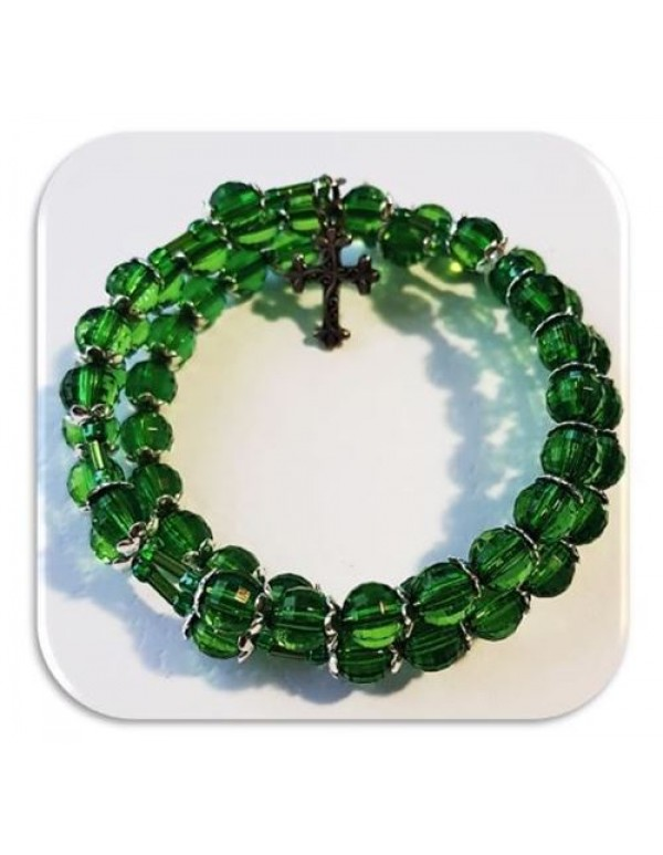 5 Decade  8mm Green Faceted Acrylic Rosary bracelet