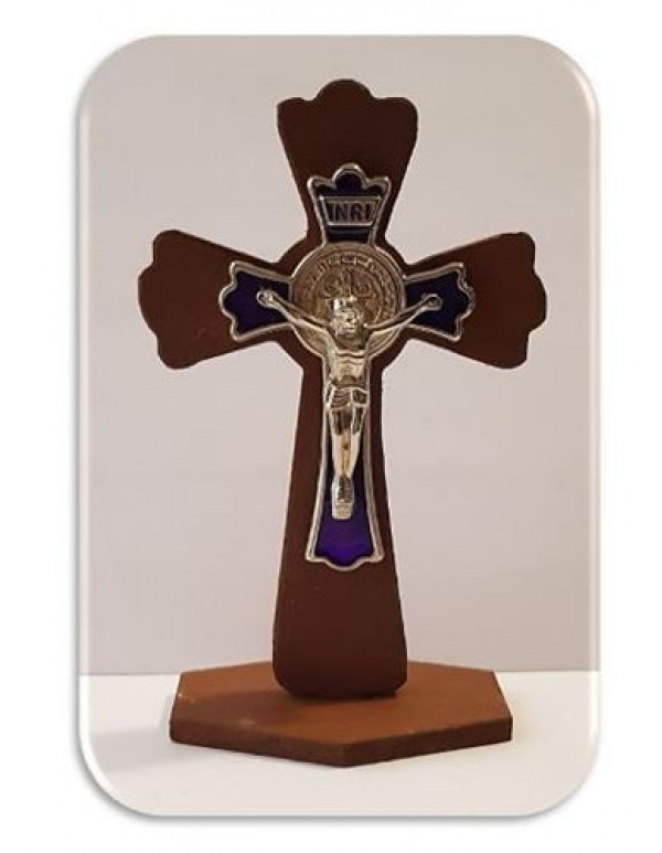 11cm Wooden Standing Crucifix / St Benedict with Purple Inlay