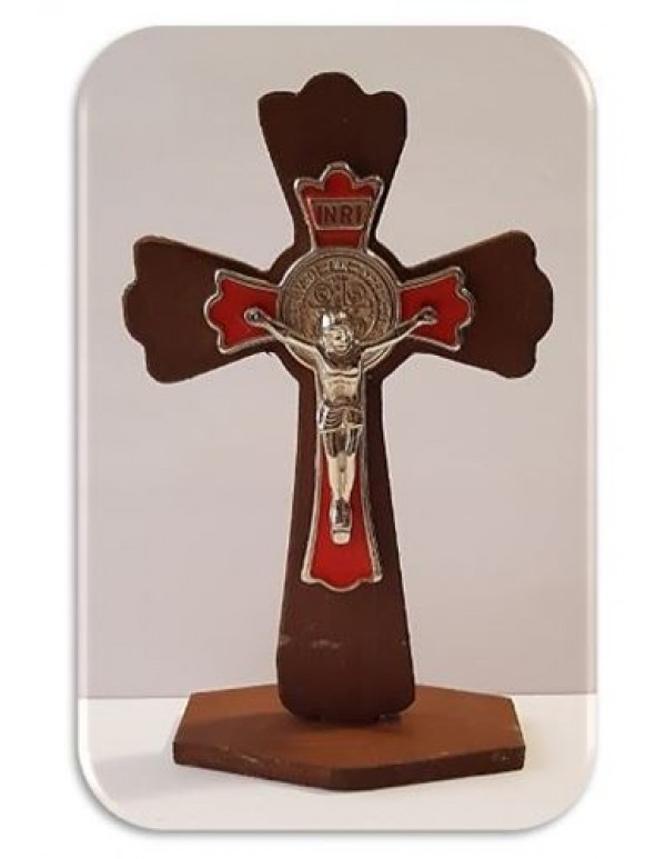 11cm Wooden Standing Crucifix / St Benedict with Red Inlay