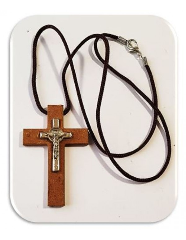 6.5cm wooden cross with Metal St Benedict Crucifix - 60cm cord