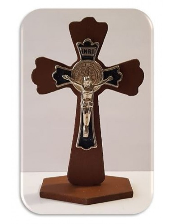 11cm Wooden Standing Crucifix / St Benedict with Black Inlay