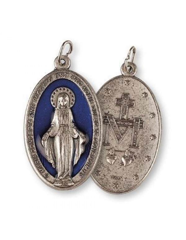 4.5cm Large Miraculous Medal with blue inlay