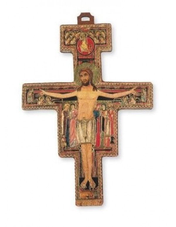 13.5 cm San Damiano Wooden Crucifix - Made in Italy