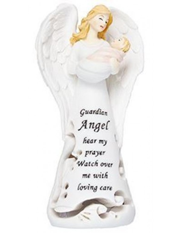 11.5cm Resin Praying Guardian Angel with fibre optic light - Girl