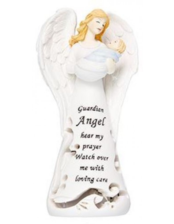 11.5cm Resin Praying Guardian Angel with fibre optic light - Boy