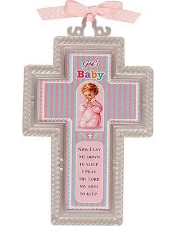 15.5  Acrylic Cross - God's Baby pink - Now I lay me down to sleep.  I pray the Lord my soul to keep.