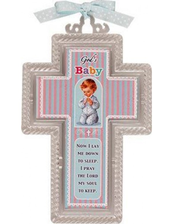 15.5  Acrylic Cross - God's Baby blue  - Now I lay me down to sleep.  I pray the Lord my soul to keep.