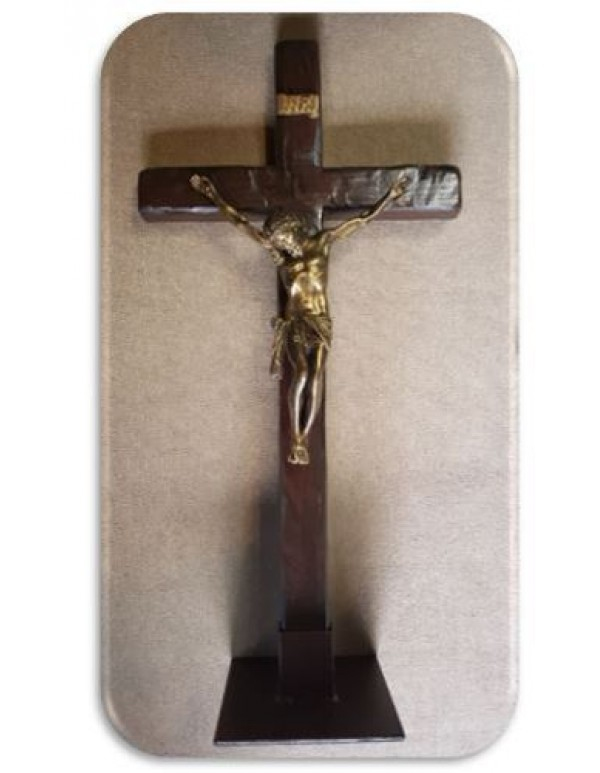 100cm (1 meter) Standing or Wall Crucifix with Golden Corpus