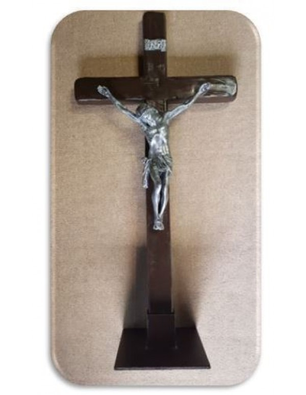 100cm (1 meter) Standing or Wall Crucifix with Silver Corpus