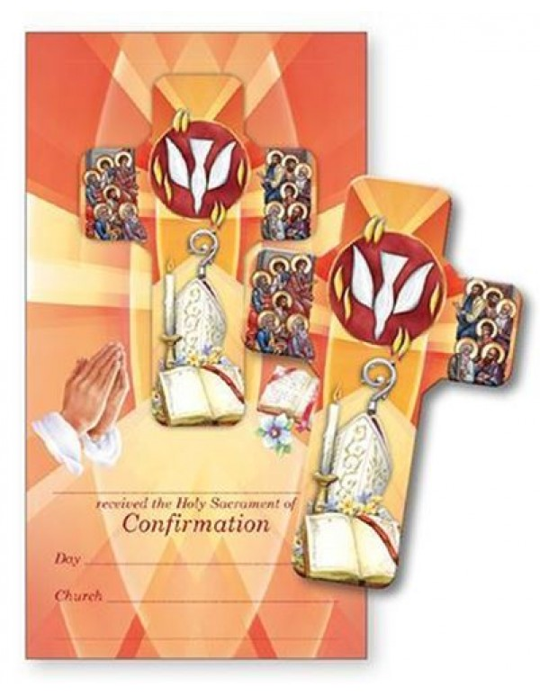 13cm Wooden  Confirmation Cross with Certificate
