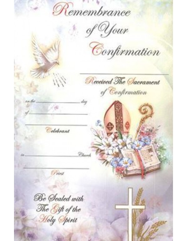Confirmation Certificate - Mitre, Bible & Staff