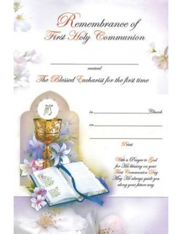 First Holy Communion Certificate - Chalice, Eucharist & Bible
