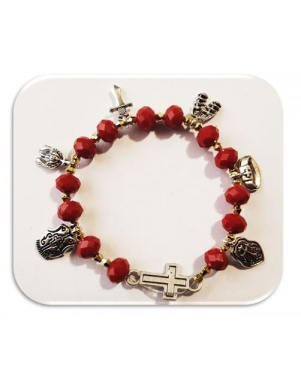 Armour of God Bracelet in Faceted Red  Austrian Glass Crystal