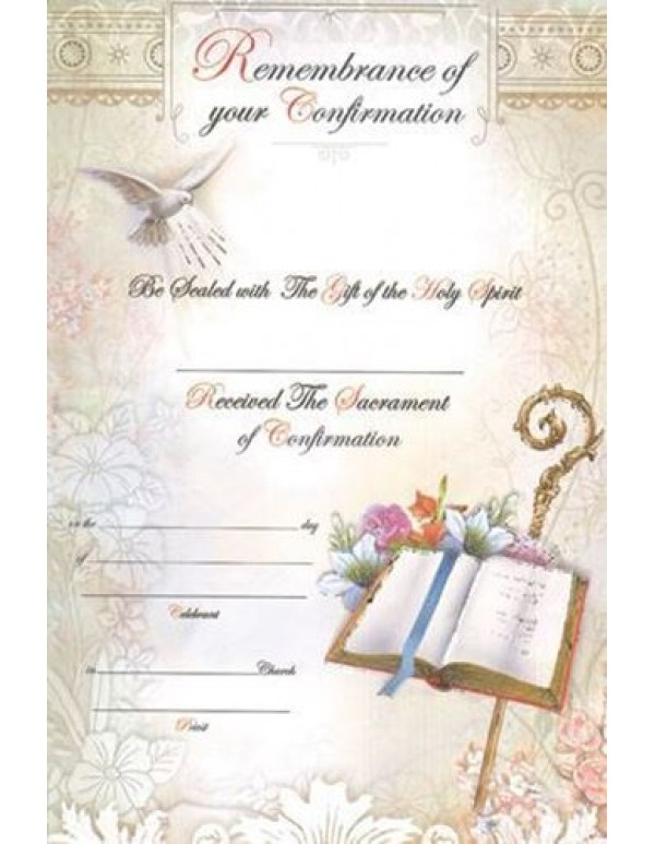 Confirmation Certificate - Dove, Bible & Staff