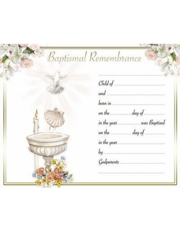 Baptism Certificate - Font, Shell & Dove