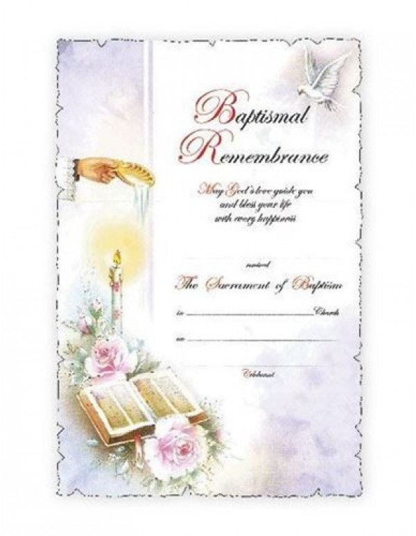 Baptism Certificate - Shell, candle & Bible