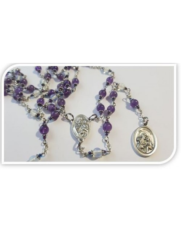 St Joseph Chaplet - in Amethyst & Moonstone semi precious stones - for all occasions, needs and Intentions
