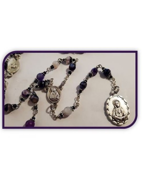 Seven Dolors / Sorrows of Mary Chaplet in Madagascan Agate