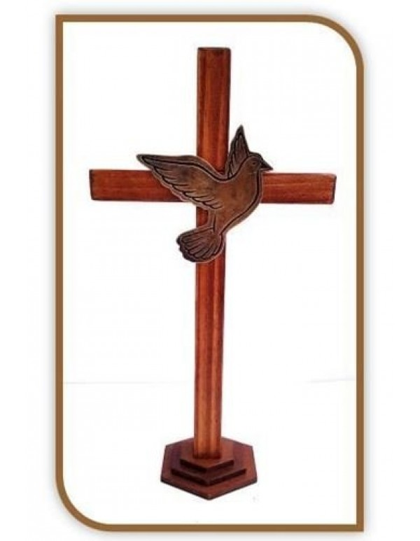 29cm Wooden Cross with Golden Dove