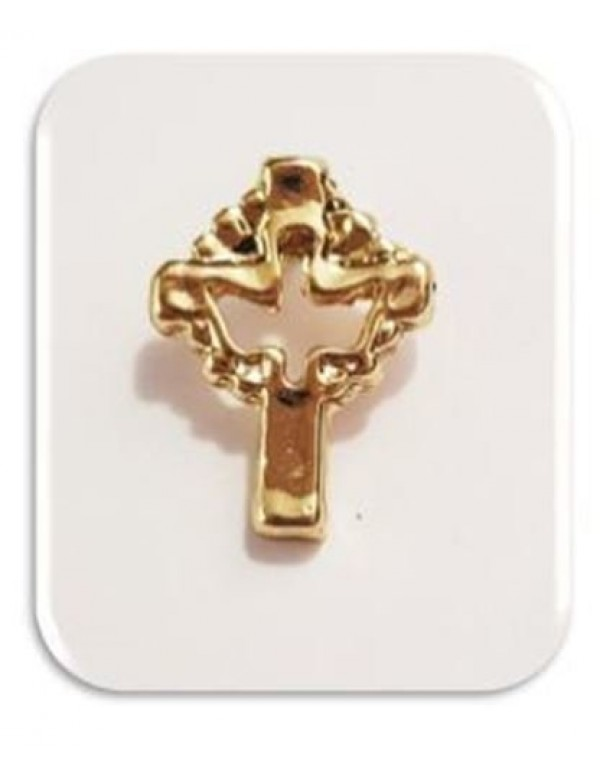1.5cm Dove in Cross - Gold plated Lapel Pin