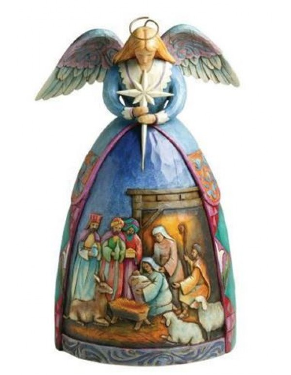 10cm - Jim Shore Heartwood Creek Hanging Angel with Nativity Gown Stone Resin Figurine
