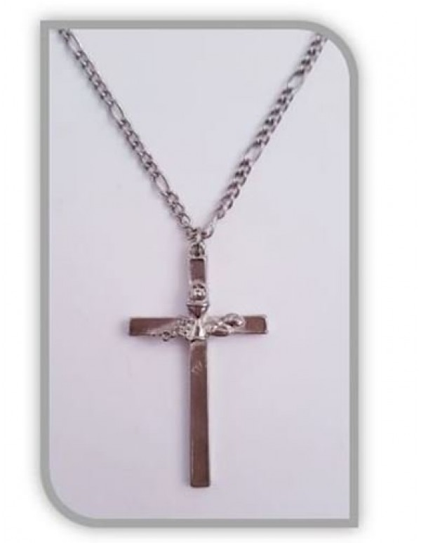 First Holy Communion Cross Pendant with Chalice, Eucharist and Grapes - 45cm Chain