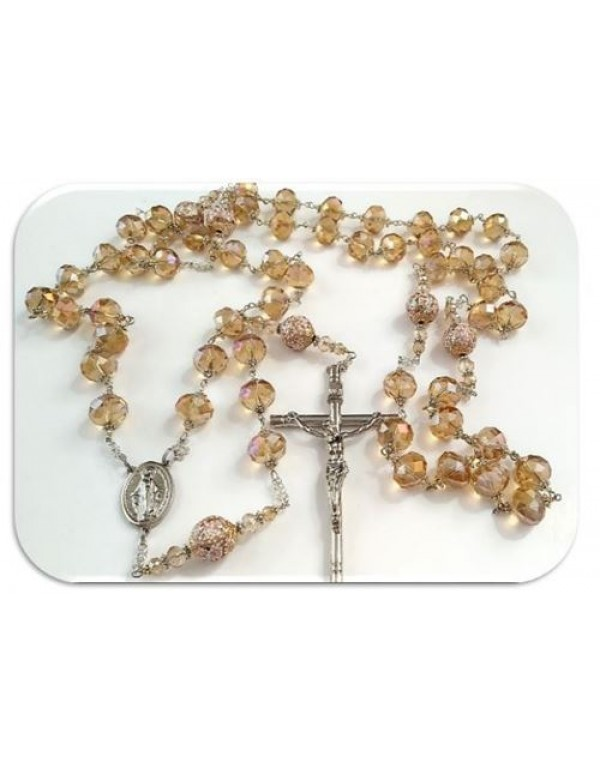 Golden Wall Rosary in Austrian Glass Crystals