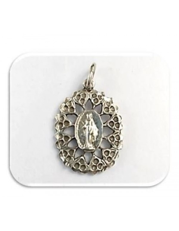 23mm Miraculous Medal / Immaculate Conception Ornate Sterling Medal