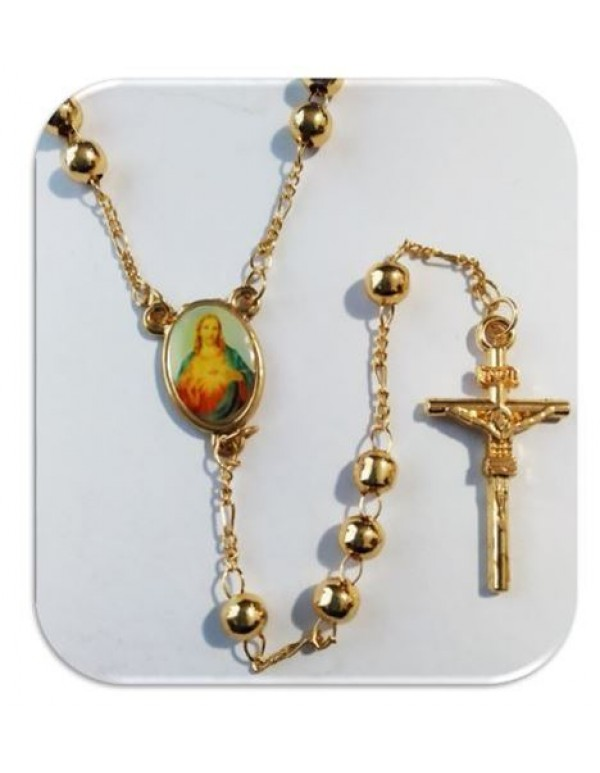 5mm Gold Plated Necklace Rosary