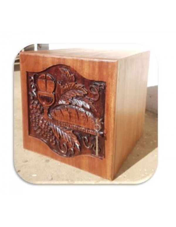 Solid Wooden Tabernacle with Hand Engraved Door