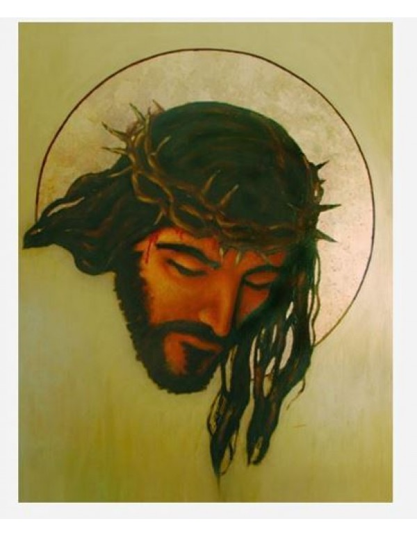 Ecce Homo - Head of the Crucified Jesus Oil on Board