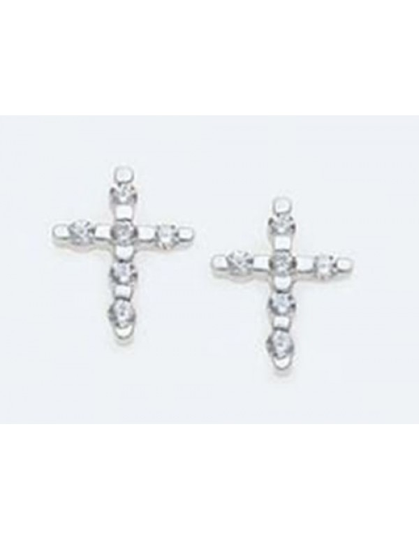 Swarovski  studded Sterling Silver Cross earrings - 10mm in Length