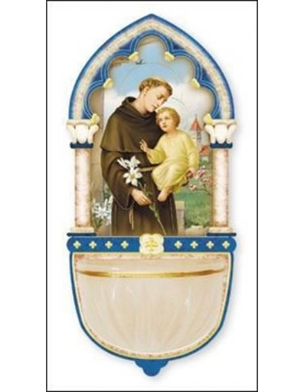 13cm St Anthony Wooden font with Luminous Holy Water bowl