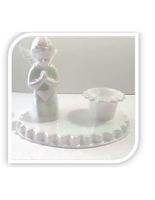 7cm tall praying Angel Candle holder - Mother of Pearl finish