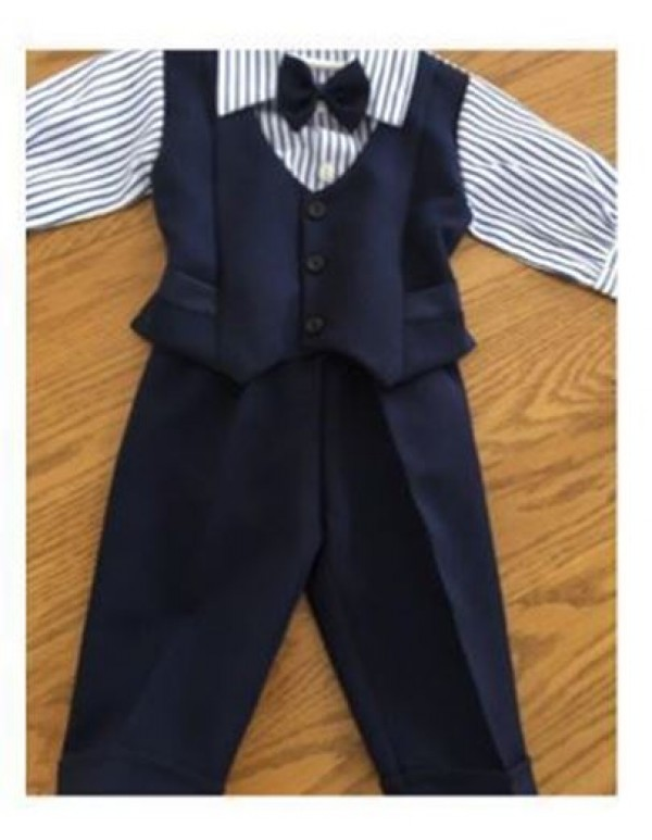 Christening / Baptism Boys suit - long sleeves & pants - Navy