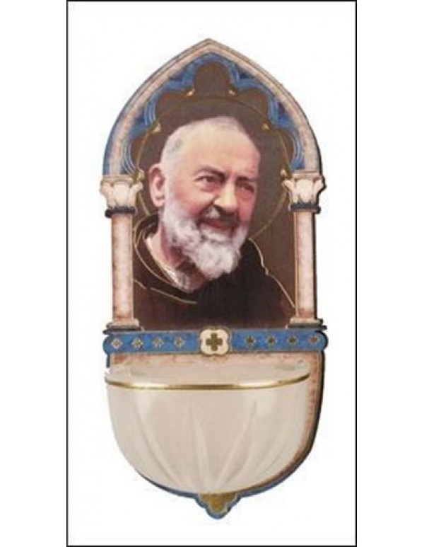 13cm St Pio Wooden font with Luminous Holy Water bowl