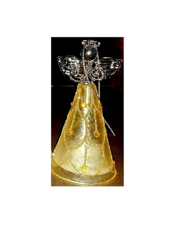 10cm Golden Glass Angel with light