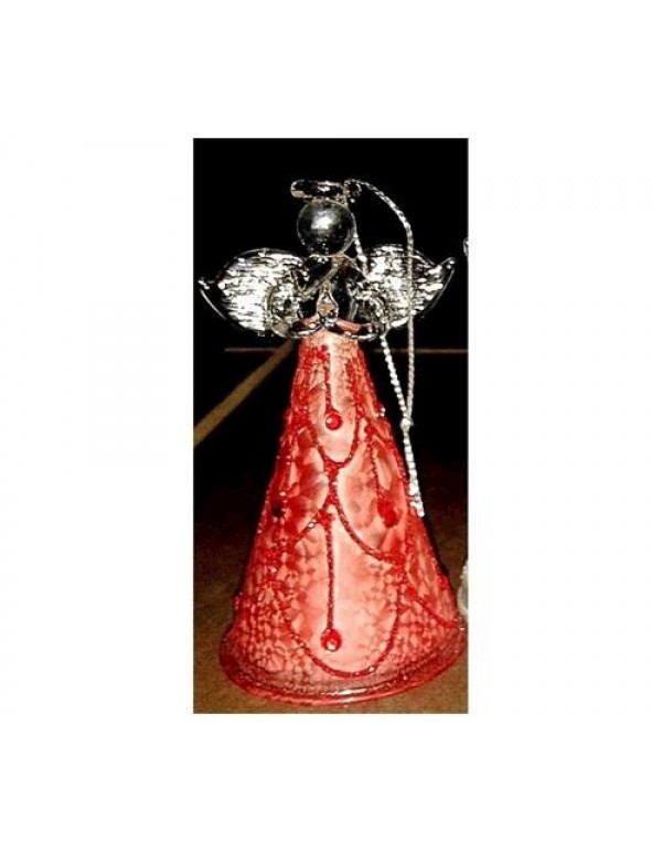 10cm Red Glass Angel with light