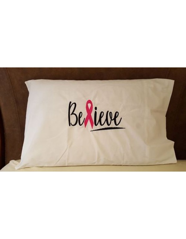 Believe  White Standard Embroidered Pillow Case