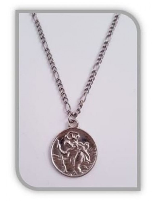2.4cm Diameter St Christopher pendant with 45cm chain