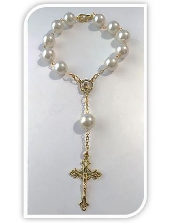 12mm light golden Car Rosary in gold