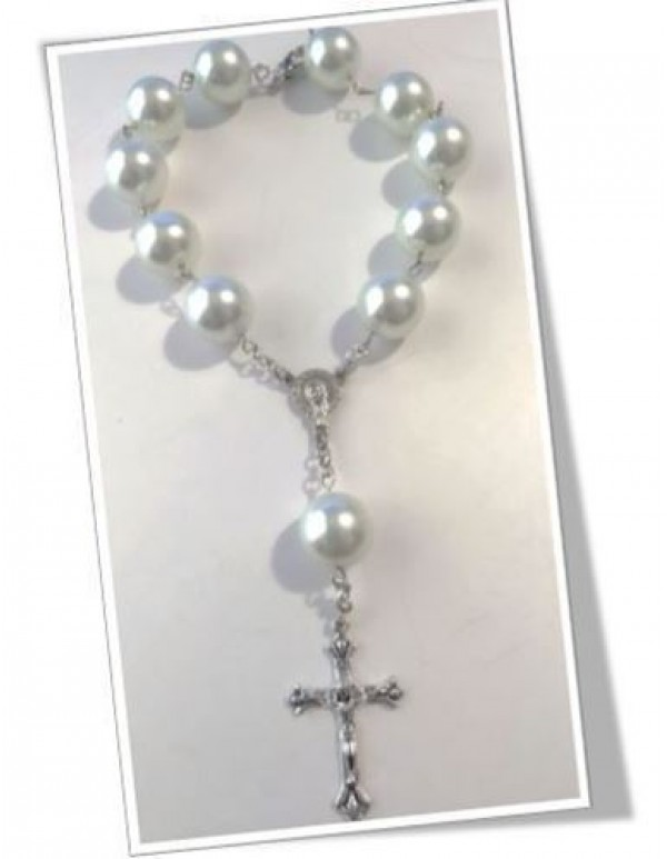 12mm white/silver  Car Rosary
