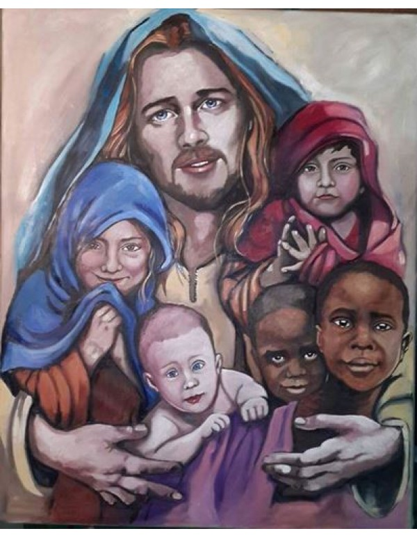 Jesus with Children - Pastel on Canvas