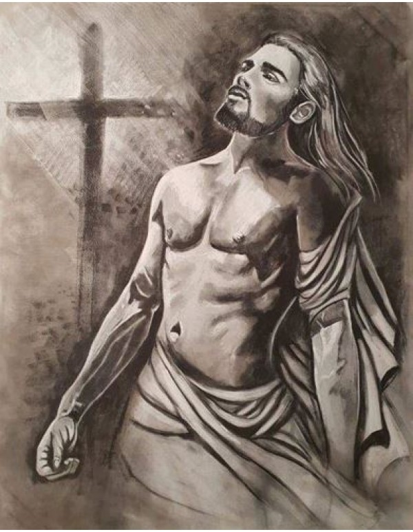 Jesus - Charcoal on Canvas