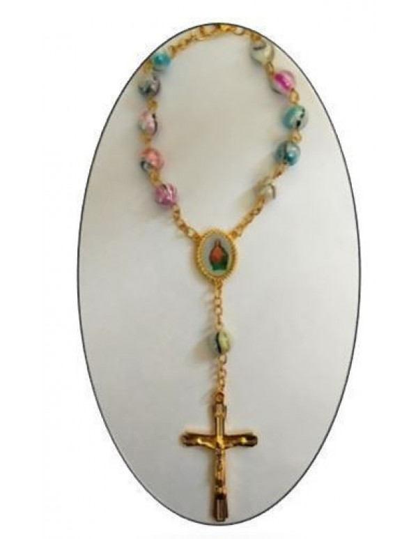Car Rosary in Mother of Pearl  - Colourful Sheen - Gold
