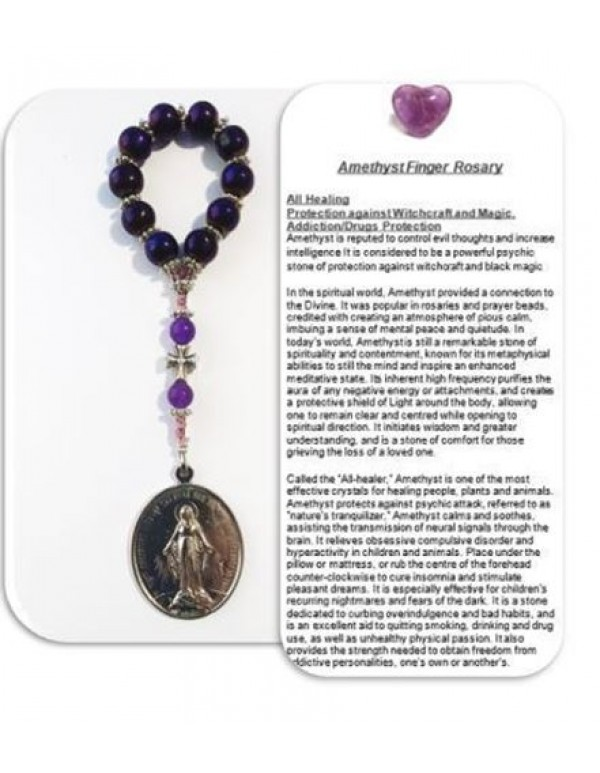 Amethyst Healing  crystal Rosary - Addictions, evil, all healing