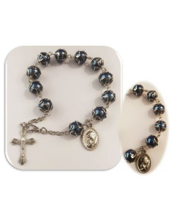 8mm Royal blue Rosary Bracelet/Car rosary in Silver